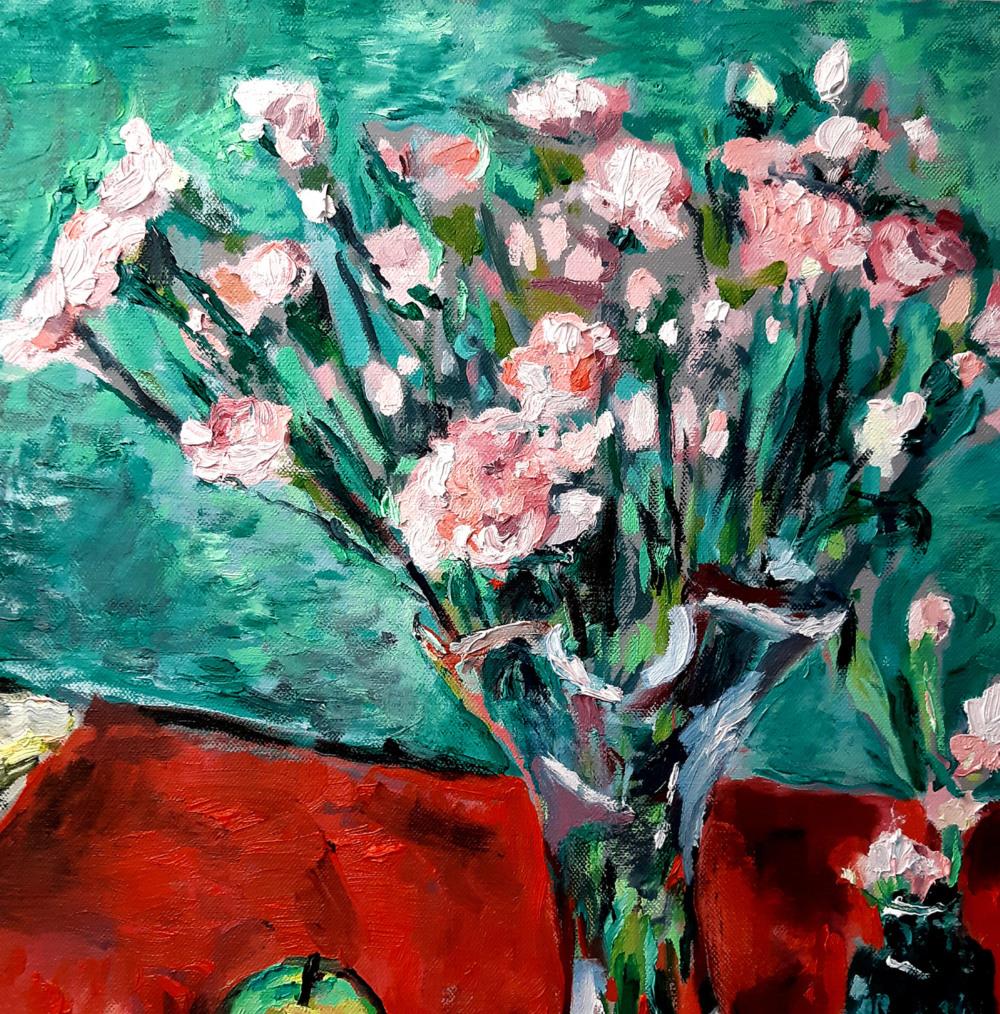 Pink Carnations Original Painting by John Martin Fulton