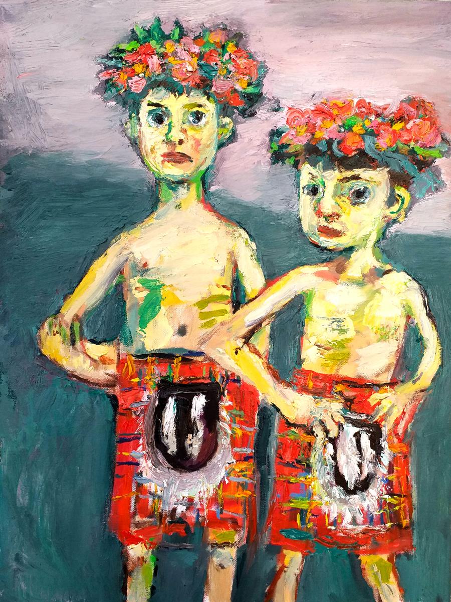 Two Boys in Tartan John Martin Fulton Original Artwork