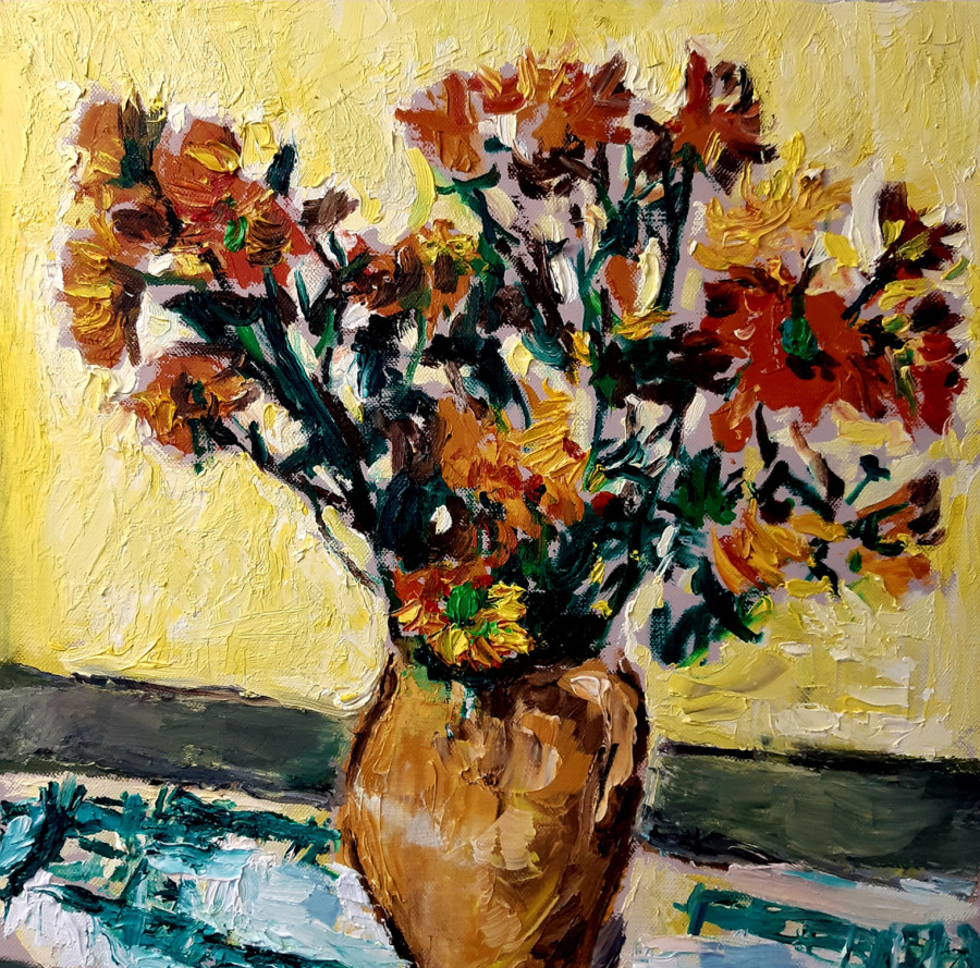 Yellow Flowers in a Vase Original Painting by John Martin Fulton