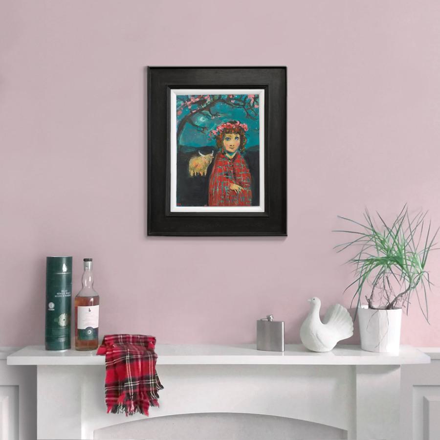 Girl in Tartan Shawl blk frame pnk wall John Martin Fulton