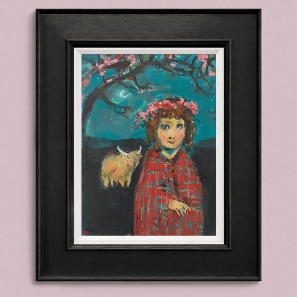 Girl in Tartan Shawl blk frame pnk wall2 John Martin Fulton