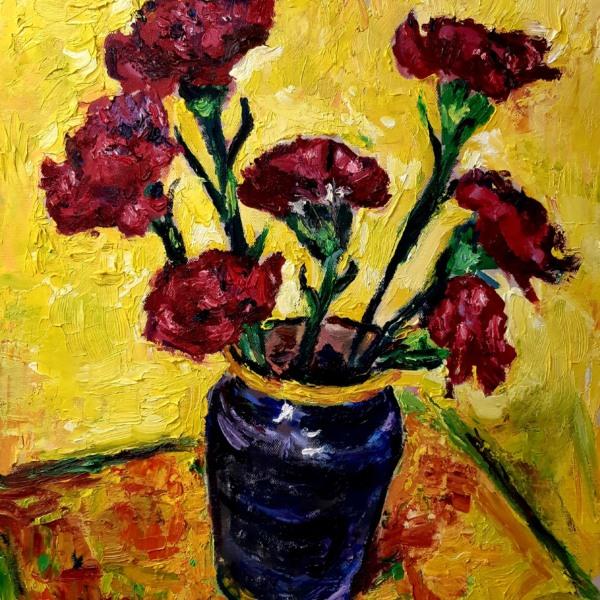 Red Carnations in a Black Vase resized John Martin Fulton