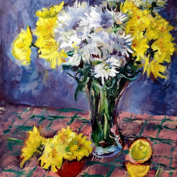 Yellow and White Chrysanthemums 1 John Martin Fulton