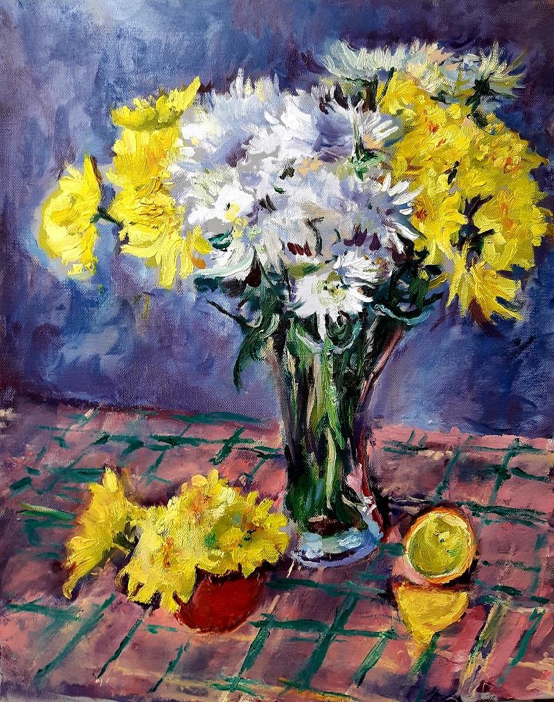 Yellow and White Chrysanthemums 1 John Martin Fulton